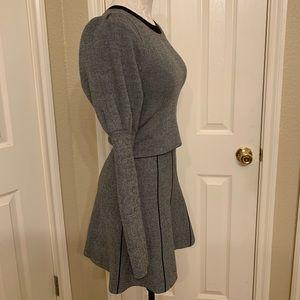 Express Two Piece Set Grey Skirt Long Sleeve XS
